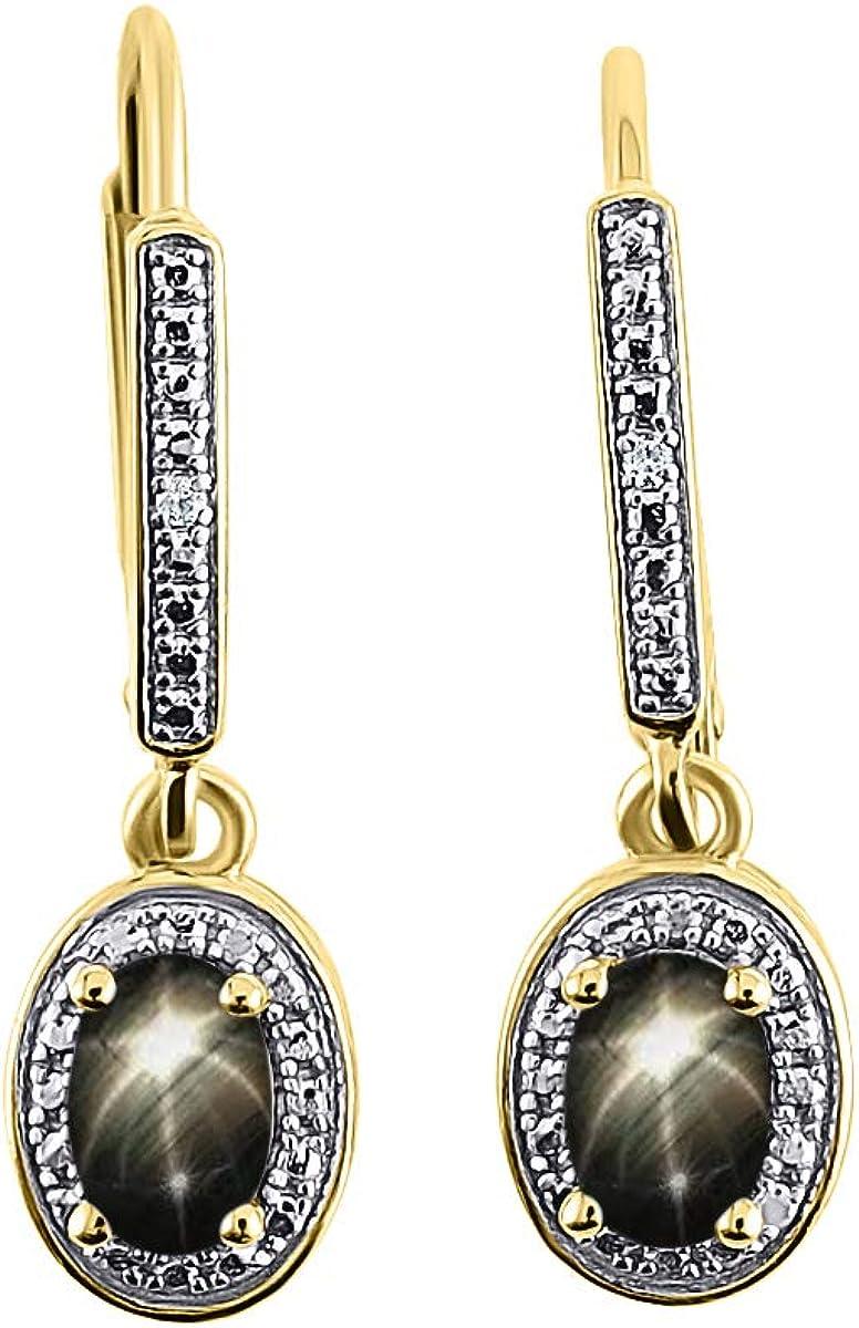 Pendientes de diamantes y estrellas negras de zafiro, en oro amarillo de 14 quilates, piedra natalicia, diseño de halo