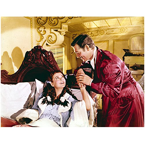 Gone with The Wind Vivien Leigh in Blue Gown in Bed Colored Photo 8 x 10 Photo