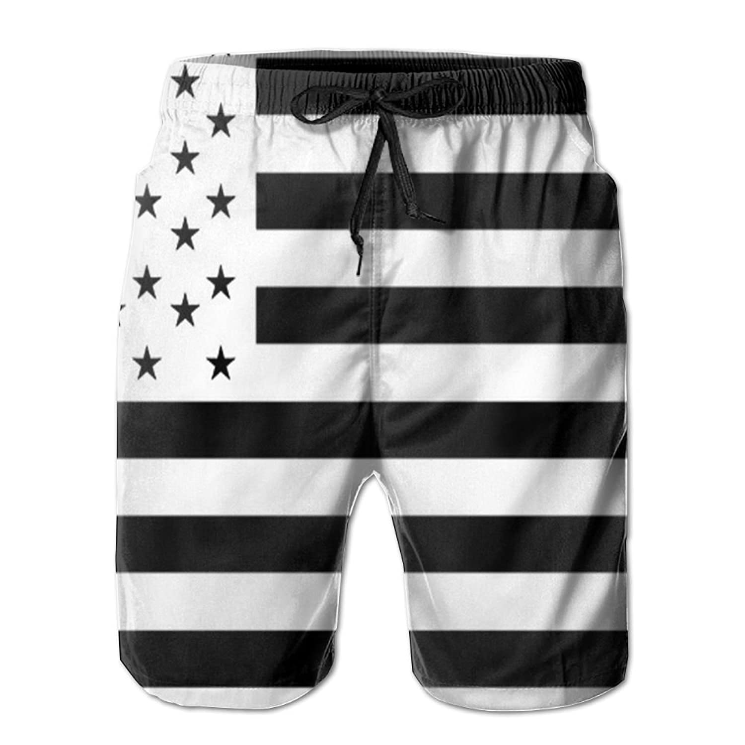 Chion mens quick 3d printing dry beach shorts retro black white american flag casual shorts