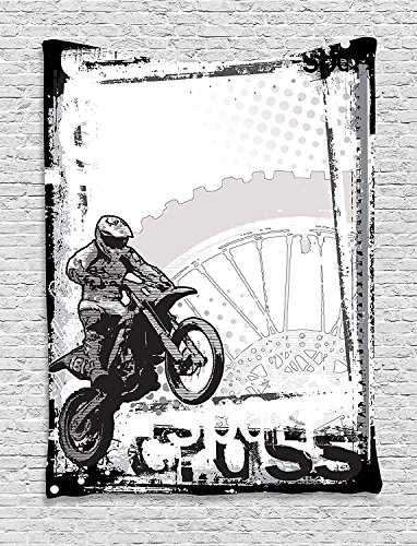 HouseLookHome Motorcycle Tapestry, Motocross Racer Image Grungy Background Poster Style Monochromic Artwork Print, Wall Hanging for Bedroom Living Room Dorm, 40 W X 60 L Inches, Black and White