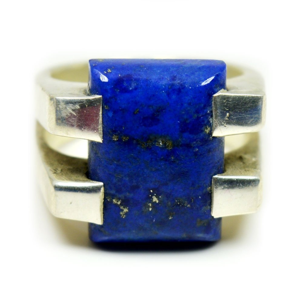 Gemsonclick Natural Blue Lapis Lazuli 925 Sterling Silver Statement Ring Handcrafted Ring Size 4 to 13