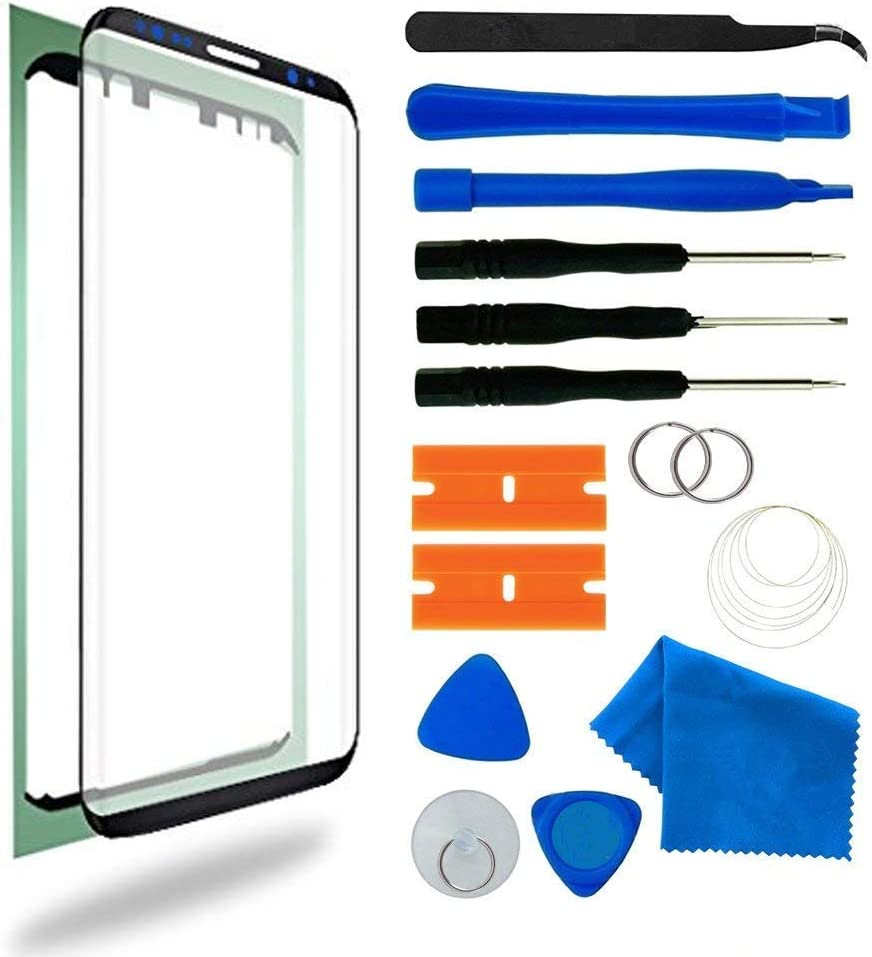 Best Original Galaxy S8 Screen Replacement, Front Outer Lens Glass Screen Replacement Repair Kit for Samsung Galaxy S8 G950 Series incl Tool Kit (Galaxy S8 5.8'- Black)