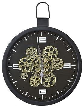 Reloj de Metal para Pared con Mecanismo a la Vista. Diseño Industrial Factory 39 x 42 cm - Hogar y más: Amazon.es: Hogar