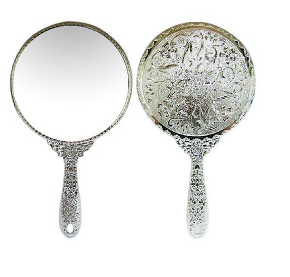 Ohraina Silver Vintage Round Hand Mirror Salon Large Hand Held Mirror 10390