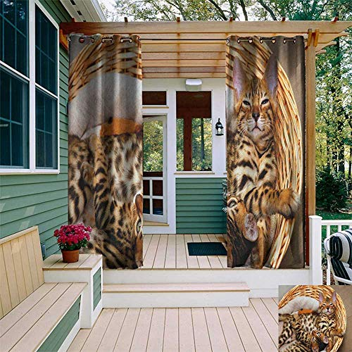 leinuoyi Kitten, Porch Curtains Outdoor Waterproof, Little Bengal Cats in Basket Cuddly Purebred Kitties Domestic Feline, for Patio Waterproof W72 x L96 Inch Brown Pale Brown Beige