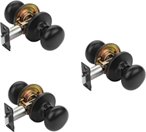 Dynasty Hardware TAH-82-12P Tahoe Door Knob Passage Set, Aged Oil Rubbed Bronze, Contractor Packs (3 Pack)
