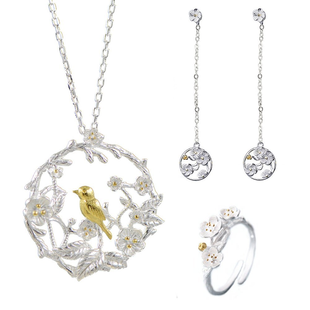 I'S ISAACSONG 925 Sterling Silver Sakura Flower Charm Cubic Zirconia Crystal Pendant Necklace and Earring Jewelry Set for Women and Girl (Engraved Flower and Bird Set)