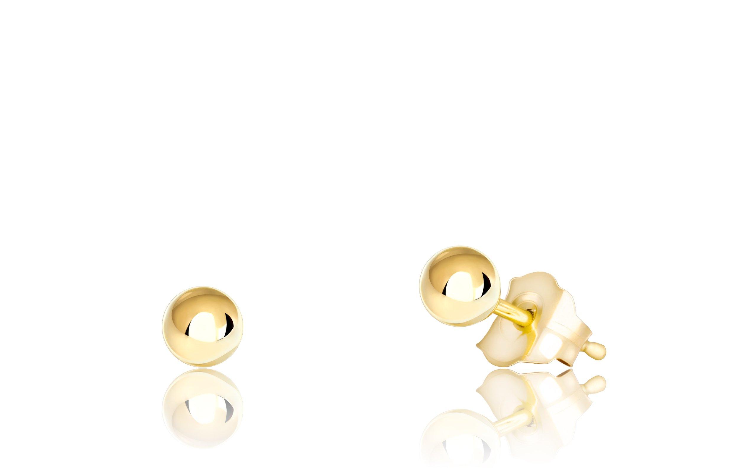 Premium 14K Yellow Gold Ball Stud Earrings (3mm - Yellow Gold)