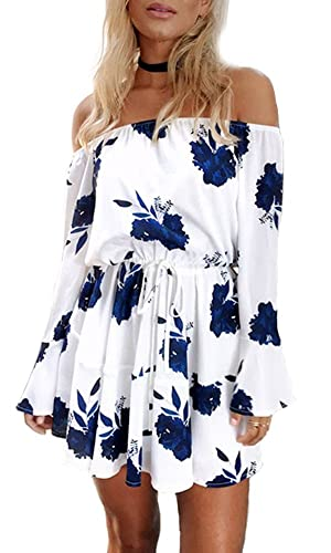 YOMISOY Women Summer Long Sleeve Off The Shoulder Floral Print Mini Party Dress