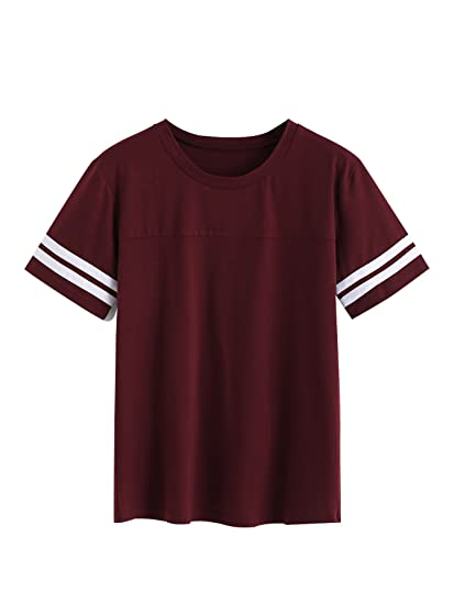 81214211bdf Romwe Women's Casual Striped Contrast Short Sleeve Round Neck Top Tee T-Shirt  Burgundy Large
