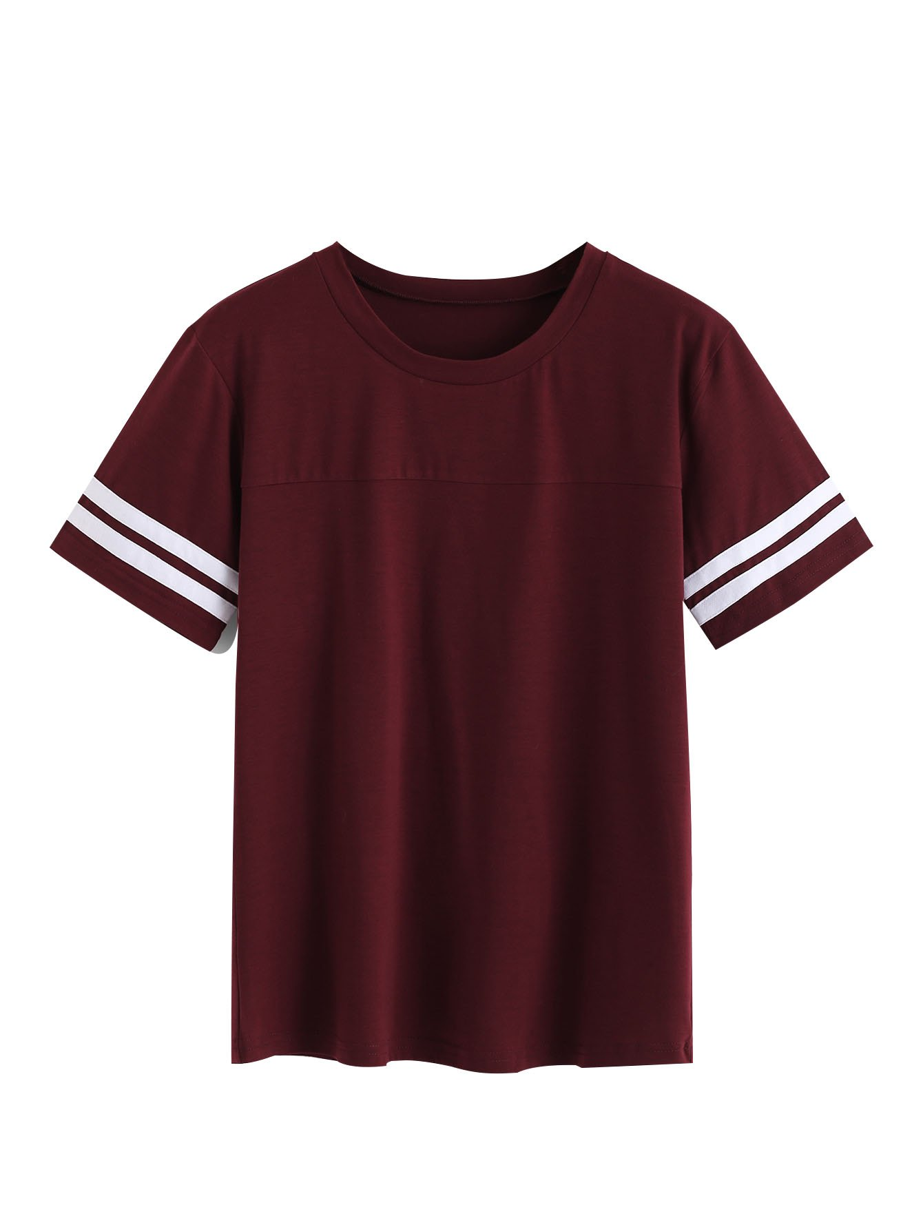Romwe Women's Casual Striped Contrast Short Sleeve Round Neck Top Tee T-Shirt Burgundy X-Large