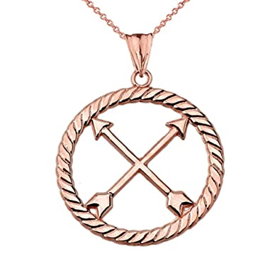 Amazon Fine 14k Rose Gold Native American Crossed Arrows