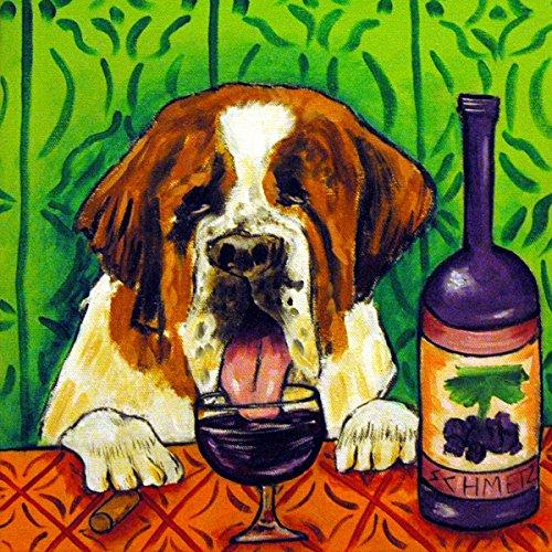 St. Bernard at the Wine Bar dog art tile coaster gift -