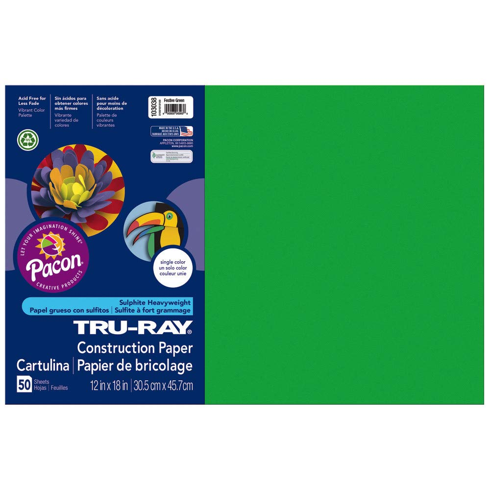 Pacon Tru-Ray Construction Paper, 12-Inches by 18-Inches, 50-Count, Festive Green (103038) PAC103038-UN0912NU