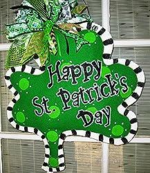 St. Patrick's Day Burlap Shamrock Door Hanger Four Leaf Clover Door Hanger Happy St. Patrick's D Ay
