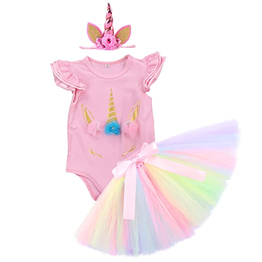 2b80d8dc4d46 Unicorn Birthday Outfit Baby Girls Clothes Flutter Short/Long Sleeve Romper  + Rainbow Tutu Ruffle