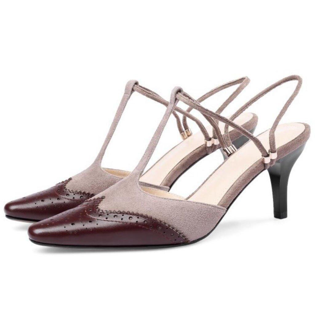 GAOLIXIA Frauen Leder Spitz High Heels Sommer Retro Geschnitzte Sandalen Mueller Schuhe Mode T-mouth Guuml;rtel Hausschuhe  38|Braun