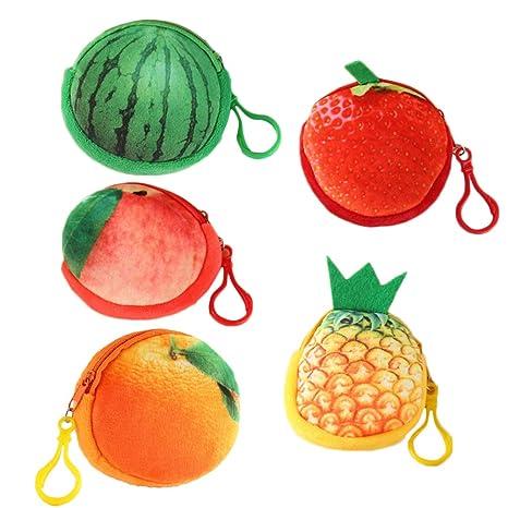 TENDYCOCO 5 unids Fruta 3D Billetera Fruta Monedero sandía ...