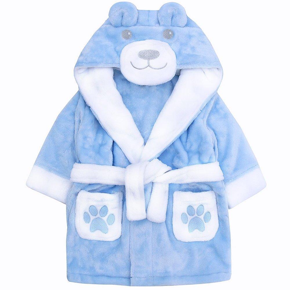 Baby Bademantel Kinderbademantel für Jungen in blau mit 3D Teddy Motiv kuschelweich Babytown 18C253