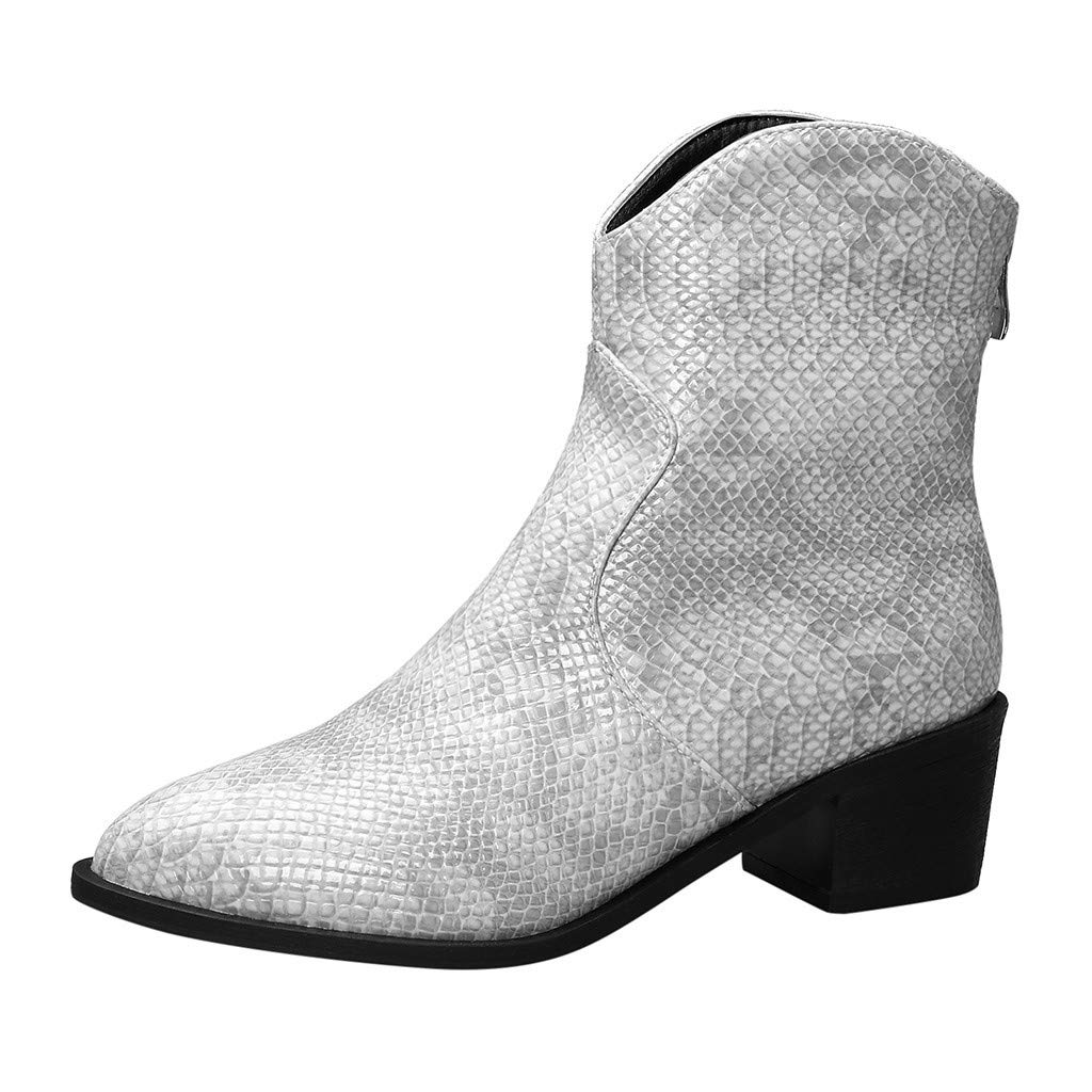 Fheaven Sexy Snake Print Boots for Women Low Heel Boots Pointed High-Heeled Shoes Ankle Large Size Booties Grey by Fheaven-shoes