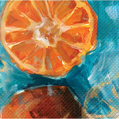 Club Pack of 288 Fruit Expressions Oranges Premium 3-Ply Disposable Party Beverage Napkins 5'' by Party Central