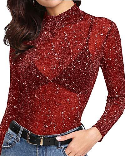 MANGOPOP Women's Glitter Sheer Mesh Tops Tee Blouse Clubwear (High Neck-Red, Small)