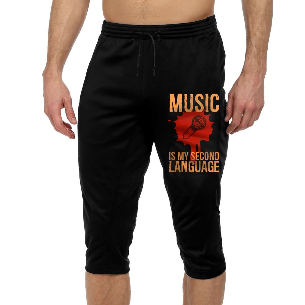BigManPants Red Music Is My Second Language Exercise Man Vintage Casual Durable French Terry Knee Pants by BigManPants