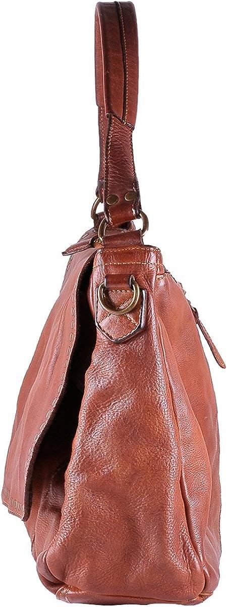 BORDERLINE - 100% Made in Italy - Borsa da Donna in Vera Pelle - Stile Vintage - ADELE Color Cuoio