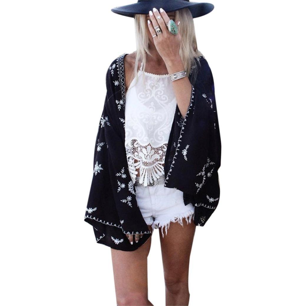 ❤️Femmes Print Kimono Shirt Cardigan Dessus en Mousseline de Soie Chemisier Châle Solaire Cover Up, Amlaiwolrd Cardigan Shawl Noir)