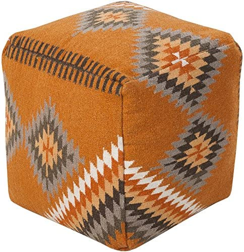 Surya Beth Lacefield 100-Percent Wool Pouf, 18-Inch by 18-Inch by 18-Inch, Burnt Orange Olive Taupe Tan