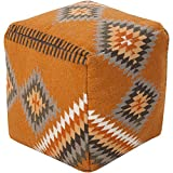 Surya POUF-200 Beth Lacefield 100-Percent Wool Pouf, 18-Inch by 18-Inch by 18-Inch, Burnt Orange/Olive/Taupe/Tan