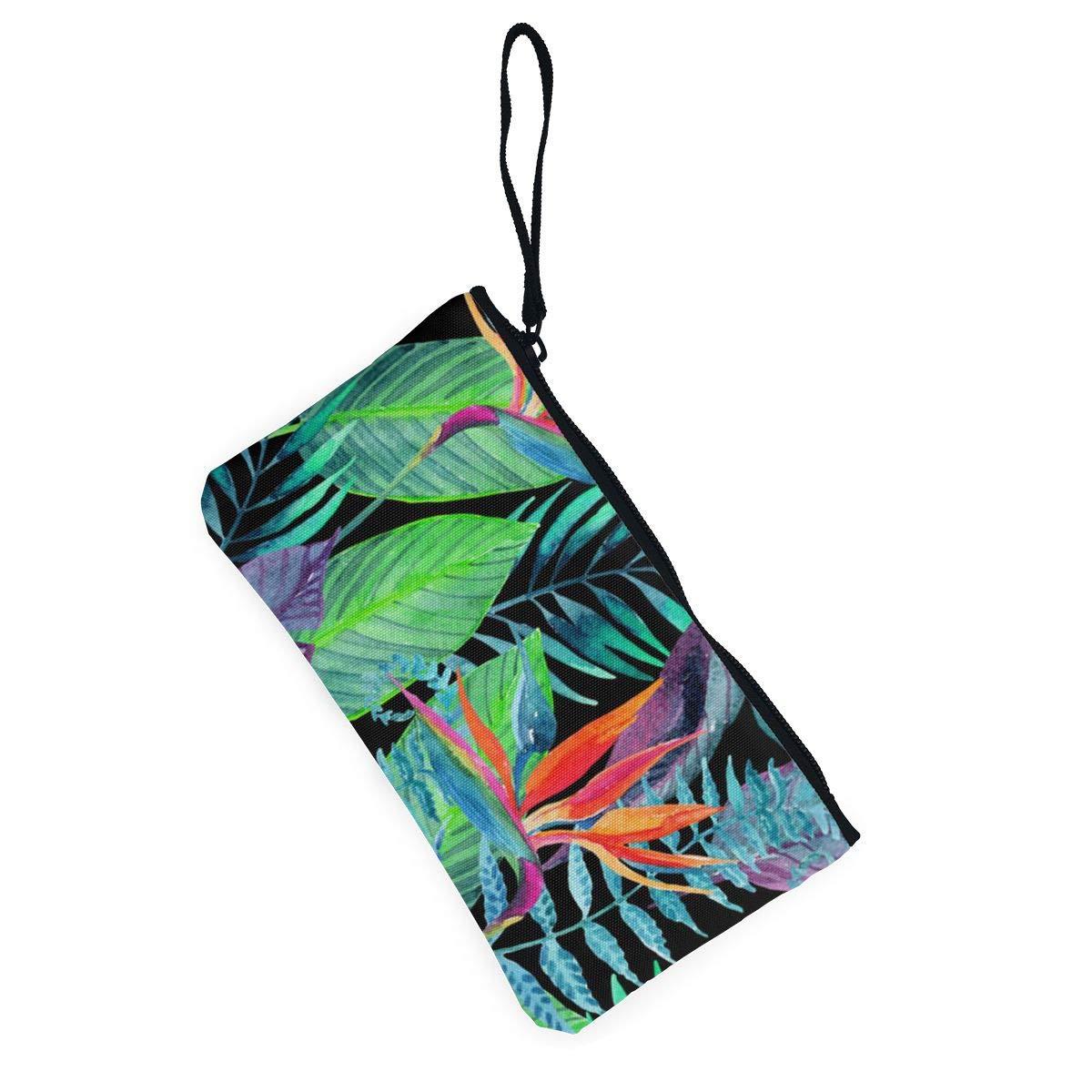 Amazon.com: Monedero de lienzo con diseño de hojas verdes de ...