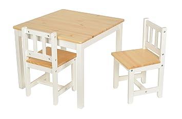Sedie Bianche E Legno : Set tavolino 60 x 60 cm con 2 sedie per bambini in legno di abete
