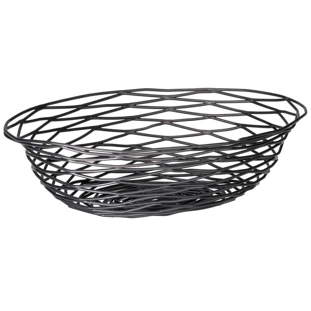 TableTop King BK17412 Artisan Oval Black Wire Basket - 12'' x 9'' x 3''