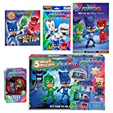 Pj Masks Activity 5 Piece Bundle - 5 Wood Puzzles in Wooden Storage Box, PJ Masks Puzzle in Tin 24pc, Two Coloring Activity and Sticker Books and Pj Masks Pop-Outz Grab Bag Gift Set for Kids 3+
