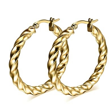 b929ab9bc Anazoz Fashion Jewelry Simple Personality Punk Large Hoop Earring For Women  Lady Stainless Steel Gold Chunky: Amazon.co.uk: Jewellery