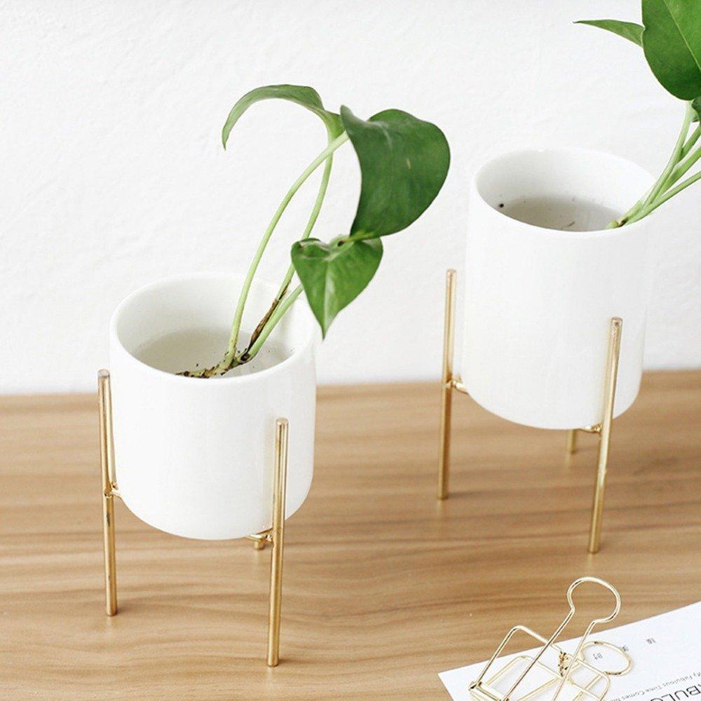 Labu Store Europe Small Plants Ceramic Flower Pot White Succulent Planter Garden Bonsai Pots with Geometric Iron Rack Holder Flowerpot Set by Labu Store (Image #5)