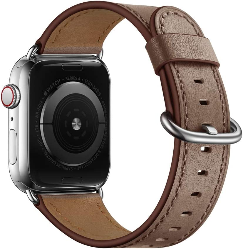 OUHENG Compatible with Apple Watch Band 40mm 38mm 44mm 42mm, Women Genuine Leather Band Replacement Strap Compatible with iWatch SE Series 6 5 4 3 2 1 (Taupe/Silver, 40mm/38mm)