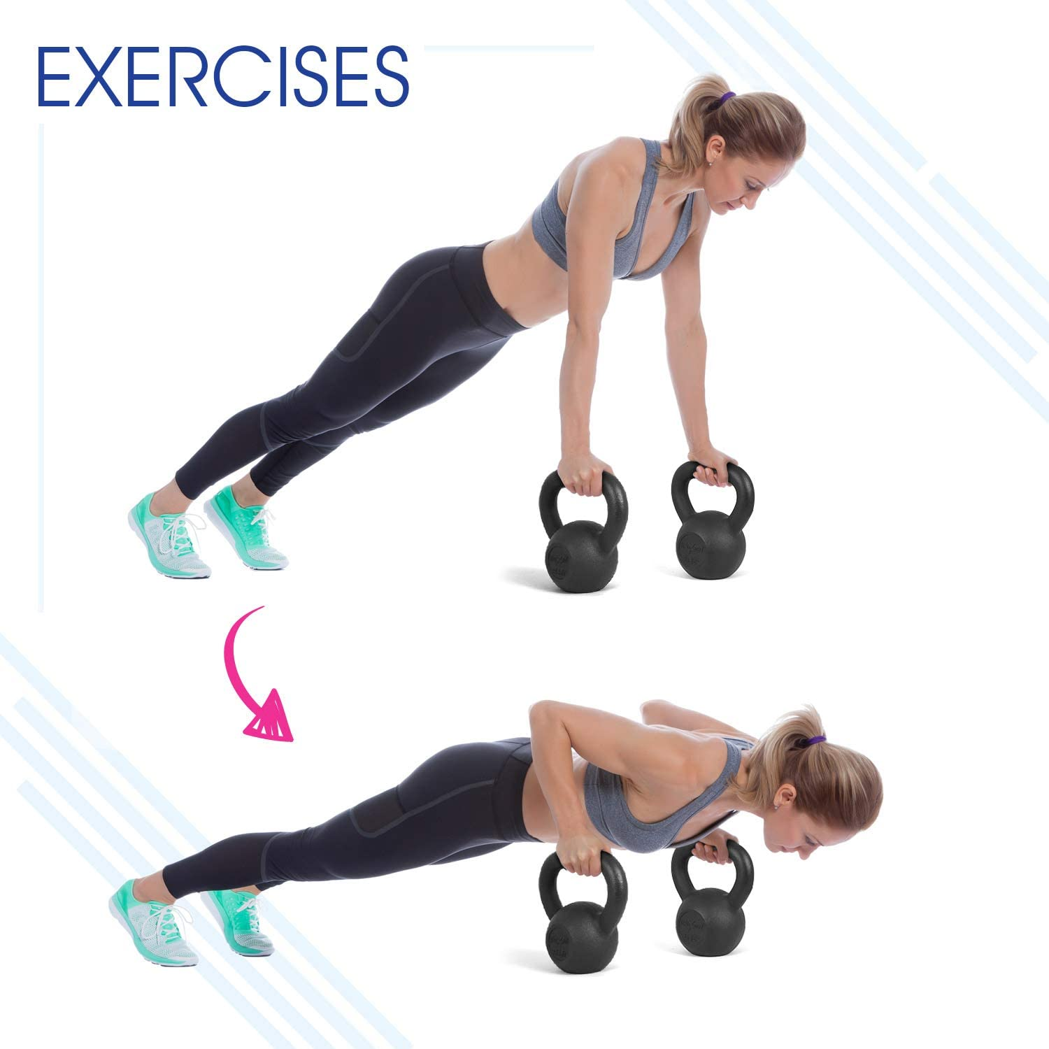 Yes4All Solid Cast Iron Kettlebell Weights Great for Full Body Workout and Strength Training