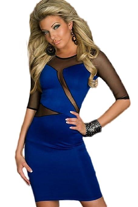 Nuevas señoras azul y negro Sheer malla verano Mini vestido Club vestido Casual vestido de fiesta