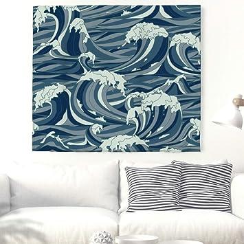 Onda Pintura pared Alfombra japonés estilo pared adornos pared toalla pared tapiz de Tapestry mantel Toalla de playa 150 x 130 cm: Amazon.es: Hogar