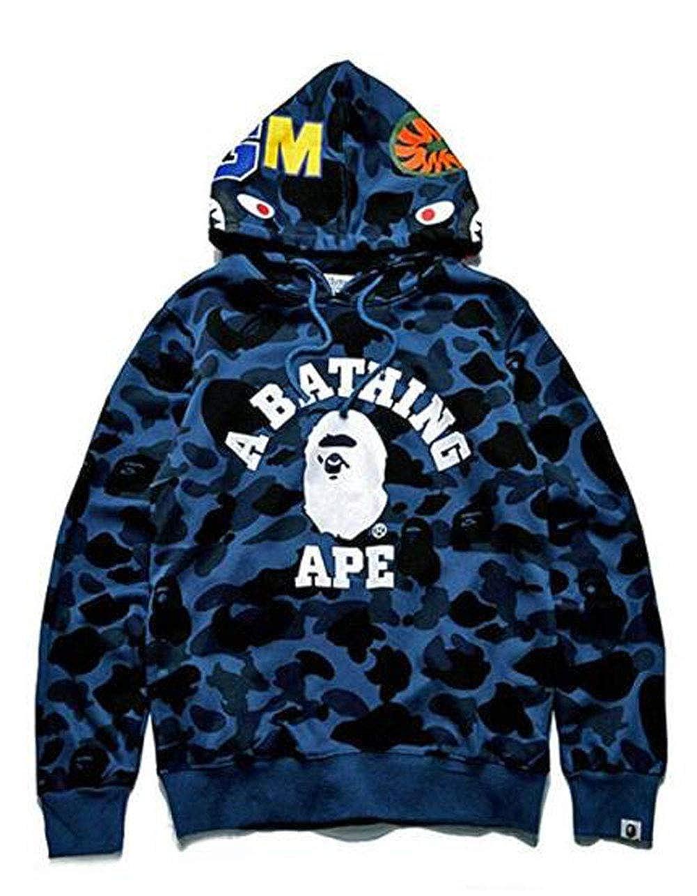 QingShuiYuan Mens Bape Hoodies Bathing Ape Jacket Fashion Casual Sweatshirt Coat Outdoor Hip-Hop Funny Tops