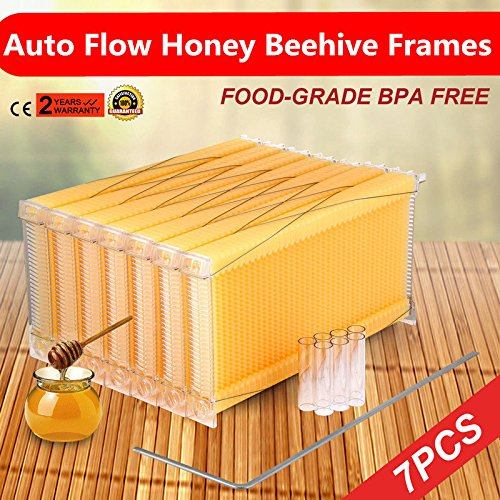(Auto Circulation Comb Beehive Frames Kit Raw Frame Honey Beekeeping Beehive Hive Frames Harvesting With 7 Harvest Tubes and a Harvest Key for Beekeepers- 7Pcs)