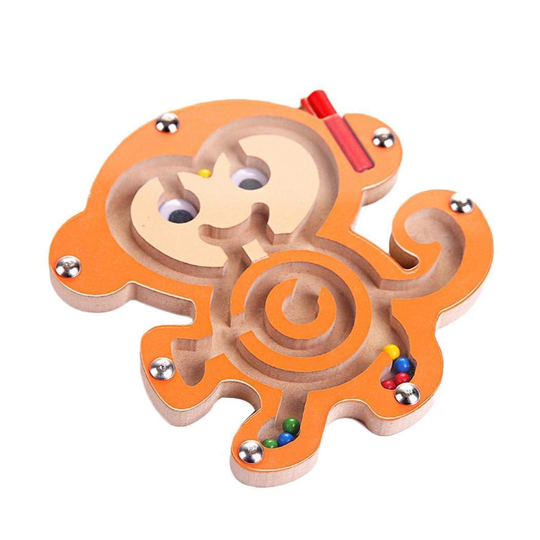 Intelligence Puzzle Boys Girls Kids Early Educational Wooden Animal Track Beads Magnetic Pens Moving Maze Toy (Monkey) by Angoo
