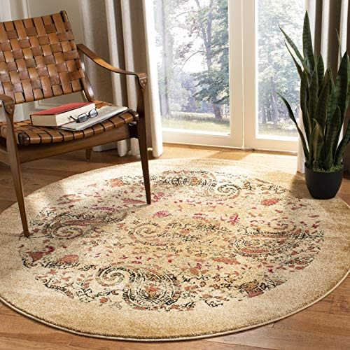 Safavieh Lyndhurst Collection LNH224A Traditional Paisley Beige and Multi Round Area Rug (10' Diameter) (Rug Diameter 10)
