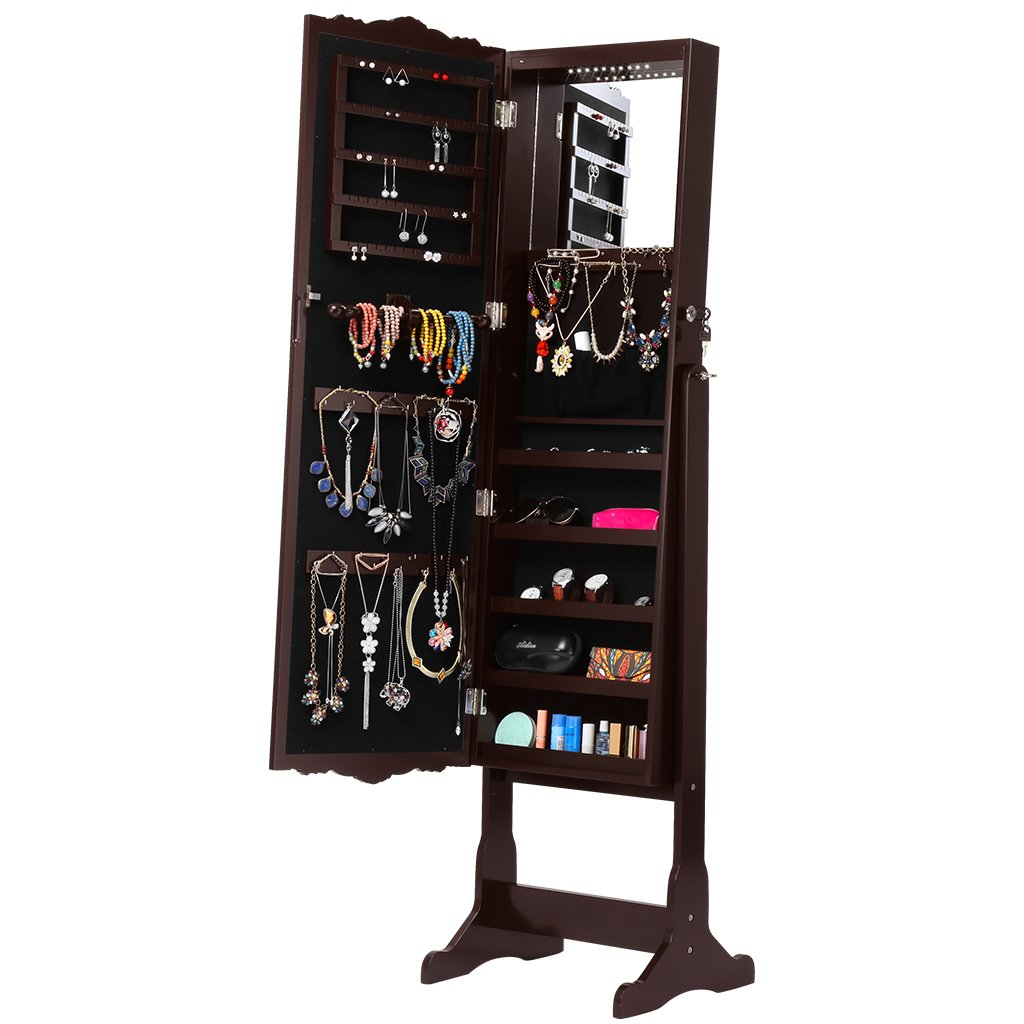 LANGRIA Mirror Jewelry Armoire Cabinet, Full-Length Standing Jewelry Organizer with 10 LEDs, 5 Shelves, Additional Mirror Inside, Brown