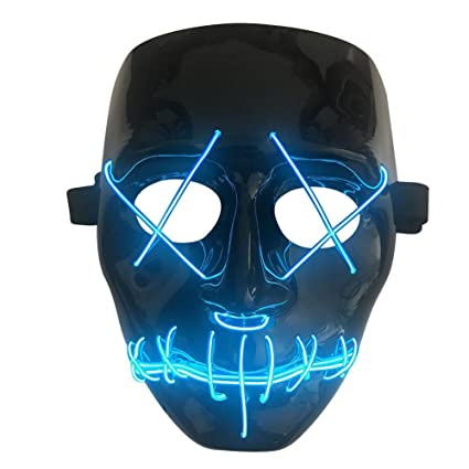 Halloween Frightening Mask Cosplay LED Light Glow Scary EL Wire Light Up Grin Luminous Masks for