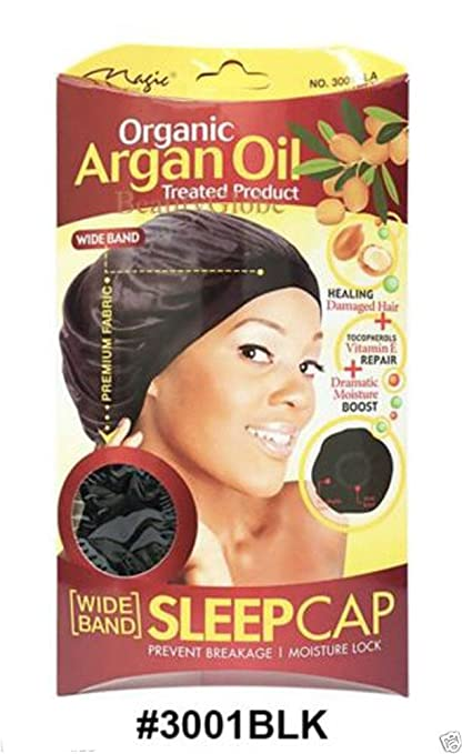 Magic Collection Wide Band Sleep Cap Organic Argan Oil Treated Cap #3001 BLA by Organic