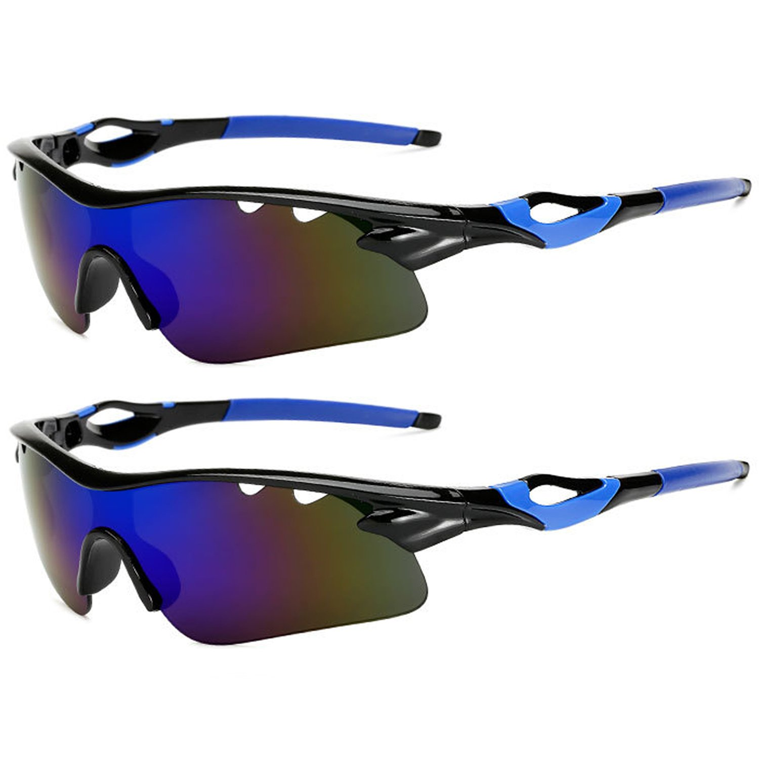 amazon com: polarized sports sunglasses glare uv400 protection hd night  vision for motorcycle riding glasses (2 pack) (blue lens): clothing