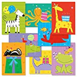 Kids Birthday Greeting Cards Value Pack - Set of 16 (8 designs), Large 5'' x 7'', Happy Birthday Cards with Sentiments Inside